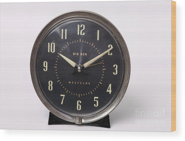 Radium Wood Print featuring the photograph Radium Dial On Clock by Ted Kinsman