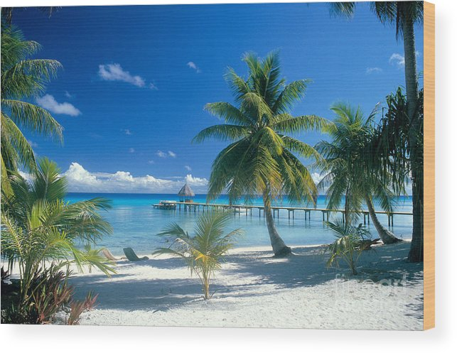 Blue Wood Print featuring the photograph Rangiroa Atoll, Kia Ora by Peter Stone - Printscapes