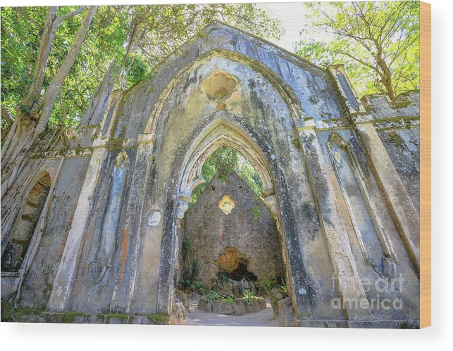 Sintra Wood Print featuring the photograph Ruins Of Chapel Sintra by Benny Marty