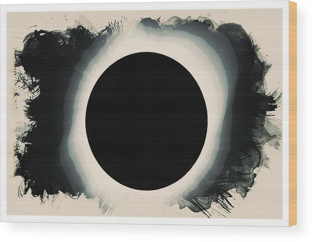Sun Wood Print featuring the painting Solar Eclipse 2017 Watercolor by Celestial Images