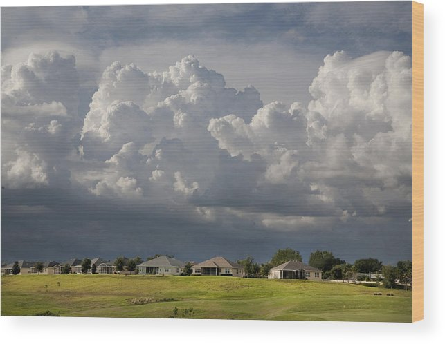 Summer Wood Print featuring the photograph Storm Clouds Over Florida by Carl Purcell