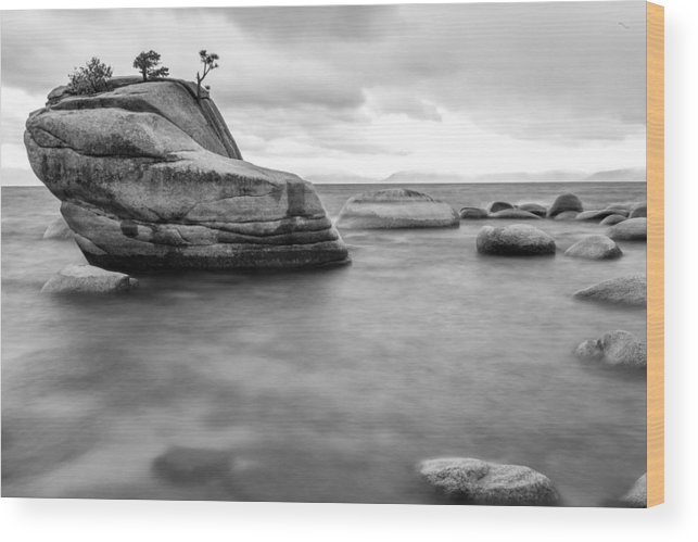 Lake Wood Print featuring the photograph Stormy Bonsai Rock by Alex Baker