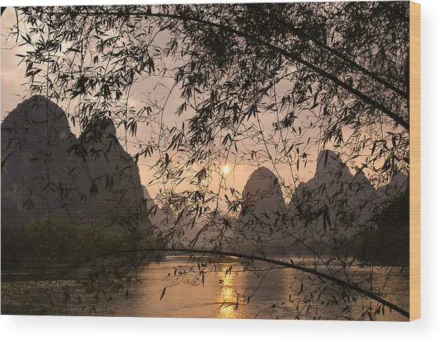 Asia Wood Print featuring the photograph Sunset On The Li River by Michele Burgess