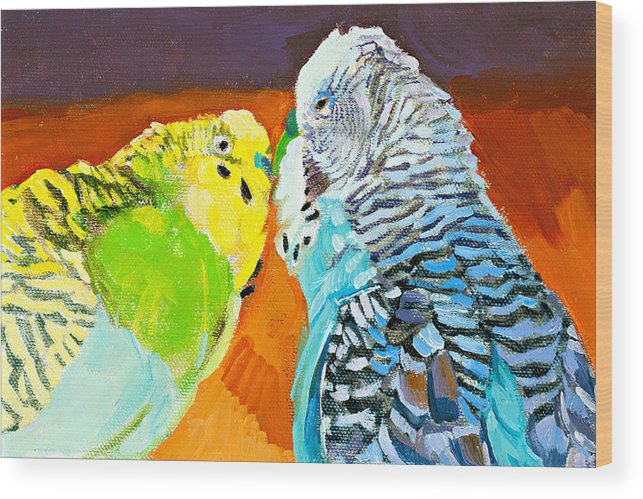 Birds Wood Print featuring the painting The Kiss by Debbie Beukema