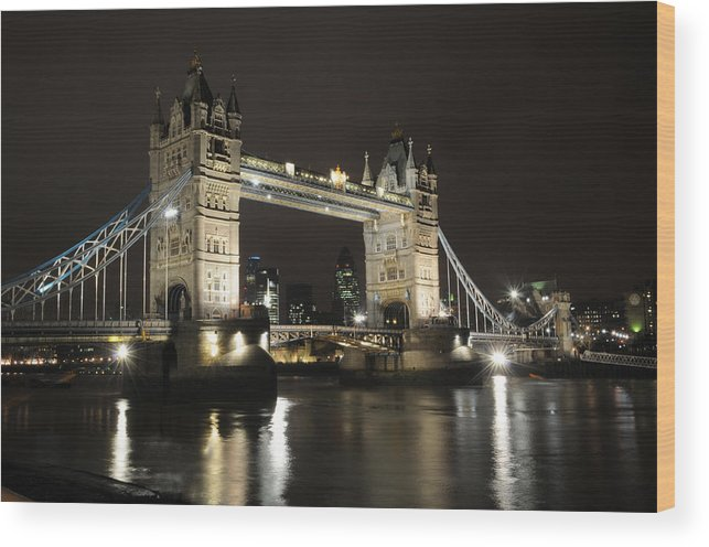 Tower Bridge London River Thames Wood Print featuring the photograph Tower Bridge London by Jon Daly