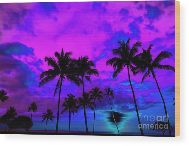Afterglow Wood Print featuring the photograph Tropical Palm Trees Silhouette Sunset Or Sunrise by Lane Erickson