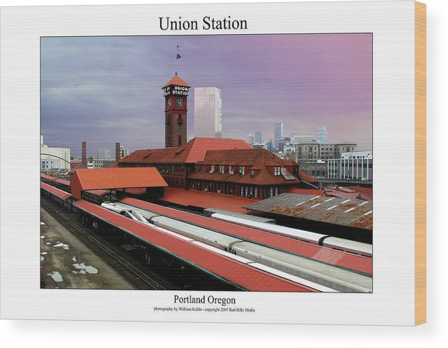 Portland Photographs Wood Print featuring the photograph Union Station by William Jones