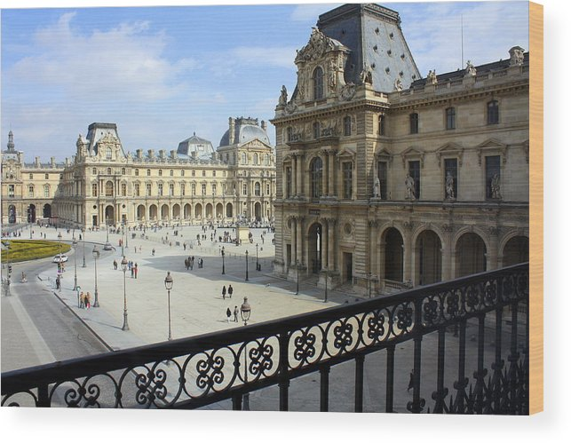 Louvre Wood Print featuring the photograph Walking At The Louvre by Susie Weaver