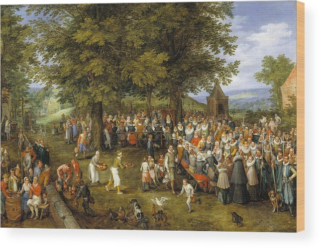 Baroque Wood Print featuring the painting Wedding Banquet Presided Over By The Archduke And Infanta by Jan Brueghel the Elder