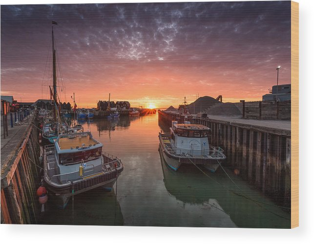 Whitstable Wood Print featuring the photograph Whitstable Sunset by Ian Hufton