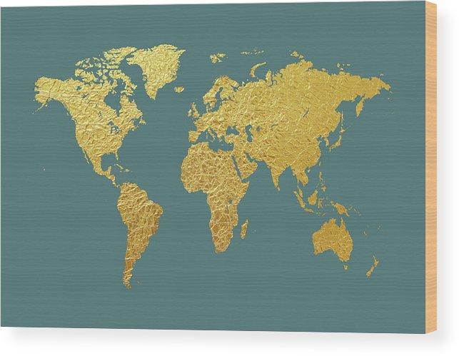 World Map Wood Print featuring the digital art World Map Gold Foil by Michael Tompsett