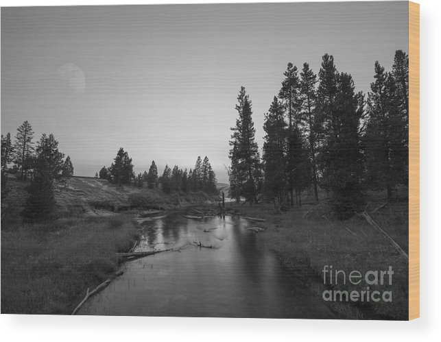 Yellowstone National Park Wood Print featuring the photograph Yellowstone National Park Sunset And Moon by Michael Ver Sprill