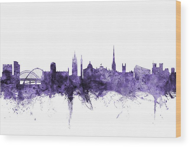City Wood Print featuring the digital art Newcastle England Skyline by Michael Tompsett