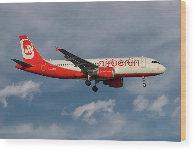 Air Berlin Wood Print featuring the photograph Air Berlin Airbus A320-214 by Smart Aviation