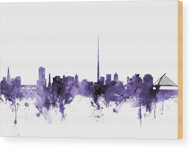 City Wood Print featuring the digital art Dublin Ireland Skyline by Michael Tompsett