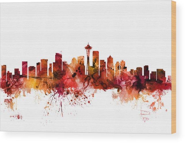 United States Wood Print featuring the digital art Seattle Washington Skyline by Michael Tompsett