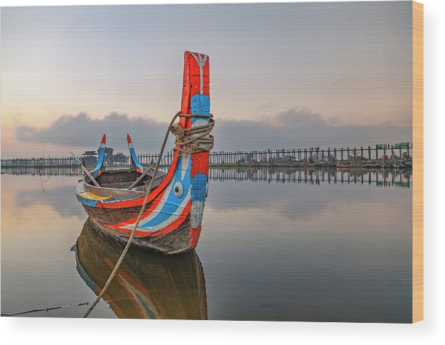 U Bein Bridge Wood Print featuring the photograph U Bein Bridge - Myanmar by Joana Kruse