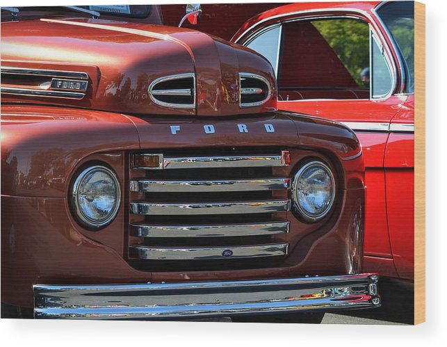 Red Wood Print featuring the photograph Classic Ford Pickup by Dean Ferreira