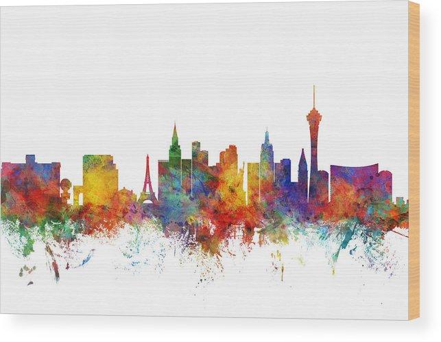 Las Vegas Wood Print featuring the digital art Las Vegas Nevada Skyline by Michael Tompsett