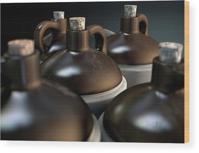 Jug Wood Print featuring the digital art Moonshine In Wooden Crate by Allan Swart