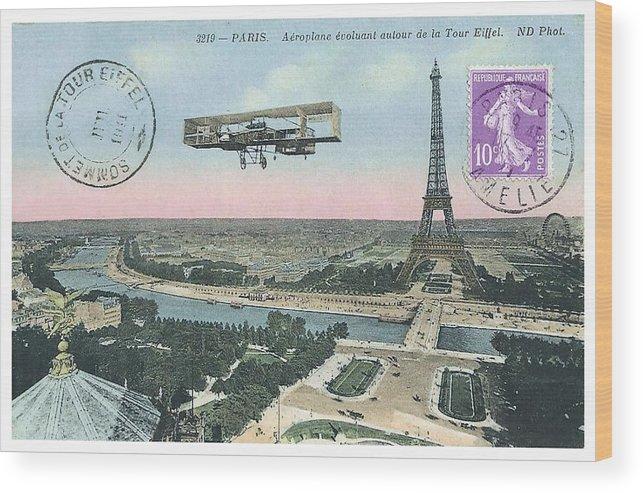 Vintage Postcard Wood Print featuring the digital art 1911 Paris Eiffel Tower Colorized Postcard by Retro Graphics