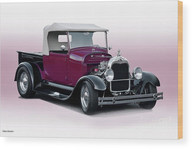 Auto Wood Print featuring the photograph 1928 Ford Roadster Pickup I by Dave Koontz