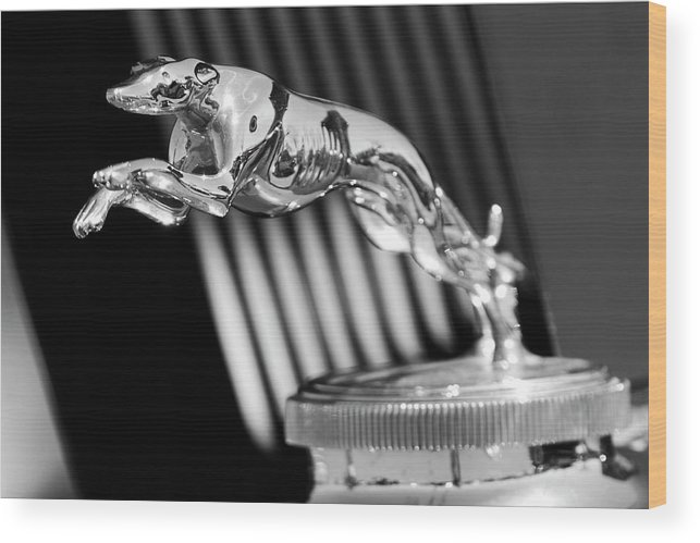 1930 Lincoln Berline Wood Print featuring the photograph 1930 Lincoln Berline Hood Ornament by Jill Reger