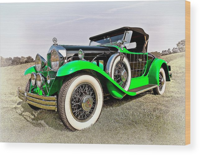 Transportation Wood Print featuring the photograph 1930 Willys Knight 66b-plaidside by Marcia Colelli