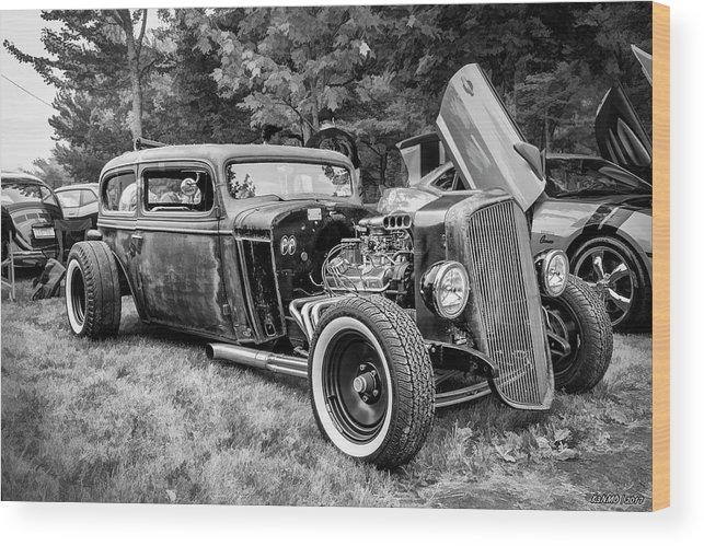 18-105 Wood Print featuring the photograph 1935 Chevy Sedan Rat Rod by Ken Morris