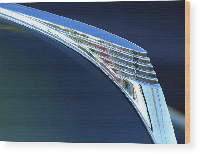 1939 Ford Deluxe Wood Print featuring the photograph 1939 Ford Deluxe Hood Ornament by Jill Reger