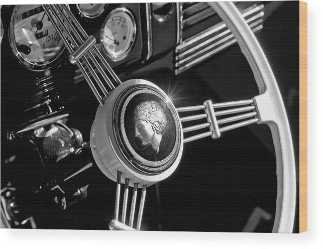 1939 Ford Standard Woody Wood Print featuring the photograph 1939 Ford Standard Woody Steering Wheel 2 by Jill Reger