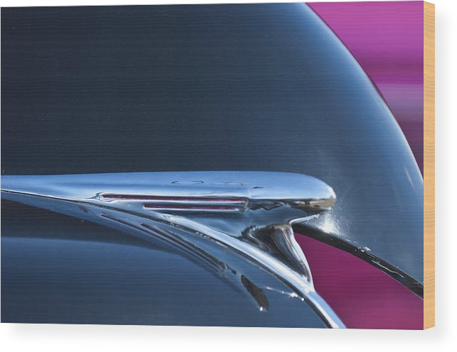 1940 Chevy Pickup Wood Print featuring the photograph 1940 Chevrolet Pickup Hood Ornament by Jill Reger