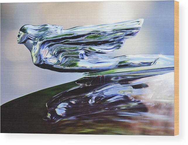 1941 Cadillac Wood Print featuring the photograph 1941 Cadillac Hood Ornament 2 by Jill Reger