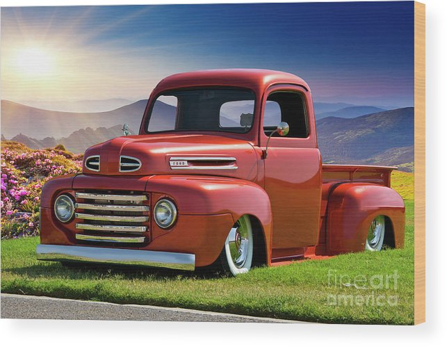 Automobile Wood Print featuring the photograph 1948 Ford F1 Custom Stepside Pickup 2 by Dave Koontz