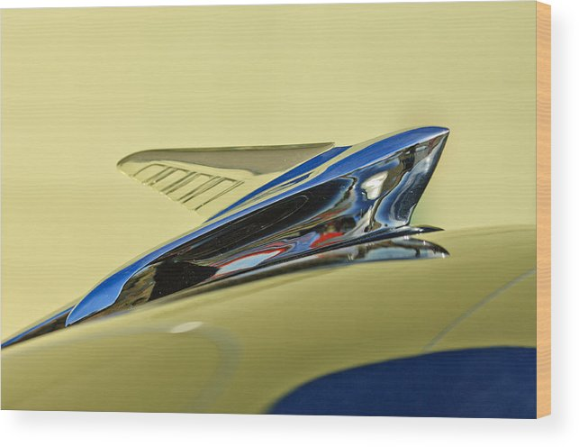 1951 Ford Wood Print featuring the photograph 1951 Ford Hood Ornament 2 by Jill Reger