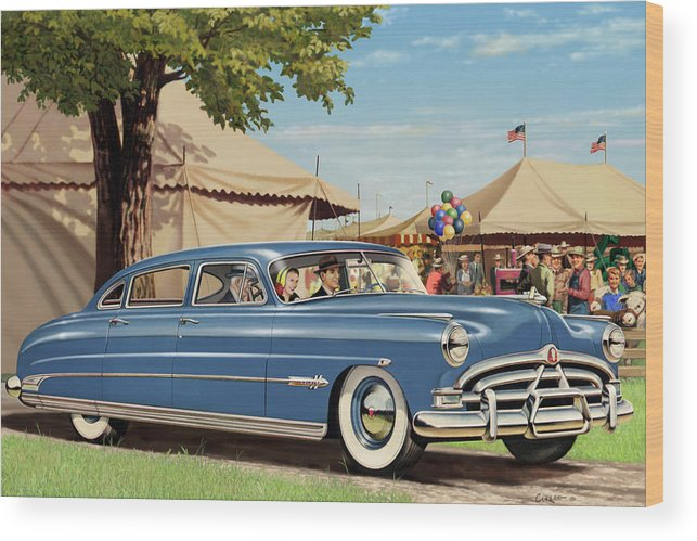 1951 Wood Print featuring the painting 1951 Hudson Hornet Fair Americana Antique Car Auto Nostalgic Rural Country Scene Landscape Painting 1951 by Walt Curlee