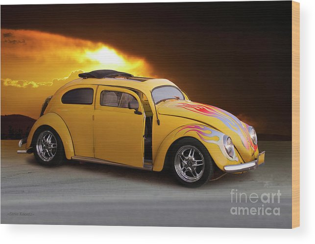 Auto Wood Print featuring the photograph 1956 Vw 'hot Rod' Bug II by Dave Koontz
