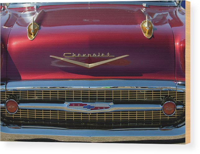 1957 Chevrolet Wood Print featuring the photograph 1957 Chevrolet Grille by Jill Reger