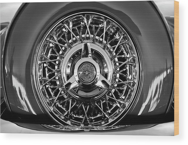 1960 Ford Thunderbird Wood Print featuring the photograph 1960 Ford Thunderbird Spare Tire 2 by Jill Reger