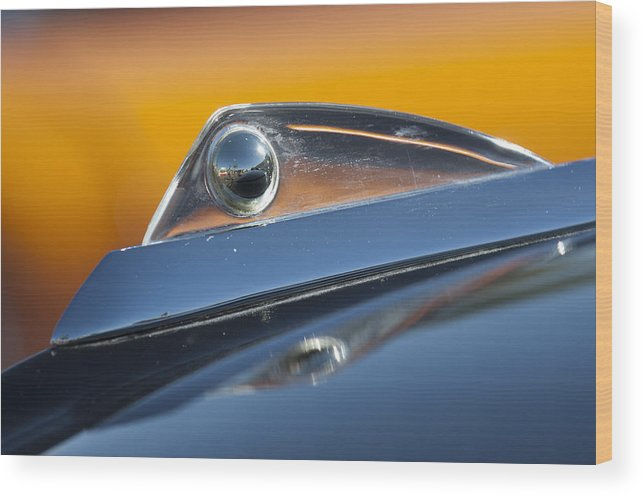 1961 Ford Starliner Wood Print featuring the photograph 1961 Ford Starliner Hood Ornament by Jill Reger
