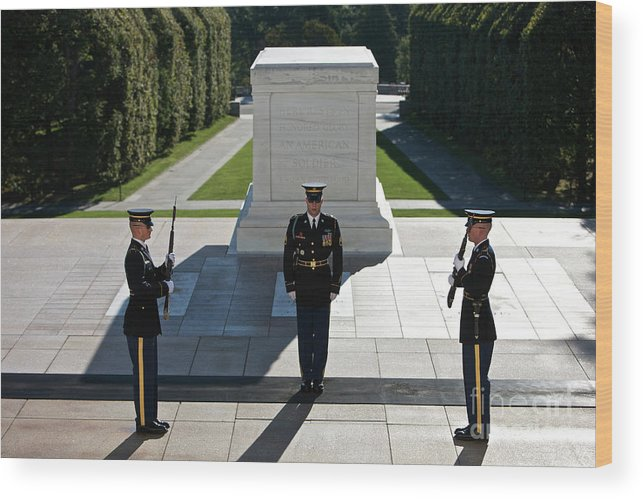 Horizontal Wood Print featuring the photograph Changing Of Guard At Arlington National by Terry Moore