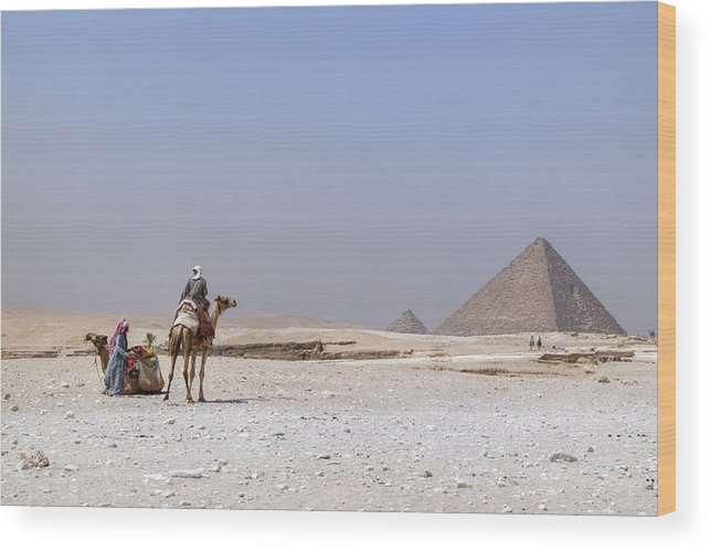 Great Pyramids Of Giza Wood Print featuring the photograph Great Pyramids Of Giza - Egypt by Joana Kruse
