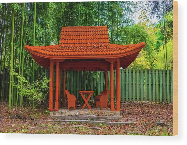 Japanese Wood Print featuring the photograph Japanese Garden by Jeff Chapman