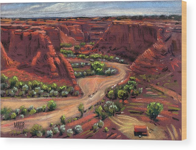 Canyon De Chelly Wood Print featuring the drawing Junction Canyon De Chelly by Donald Maier