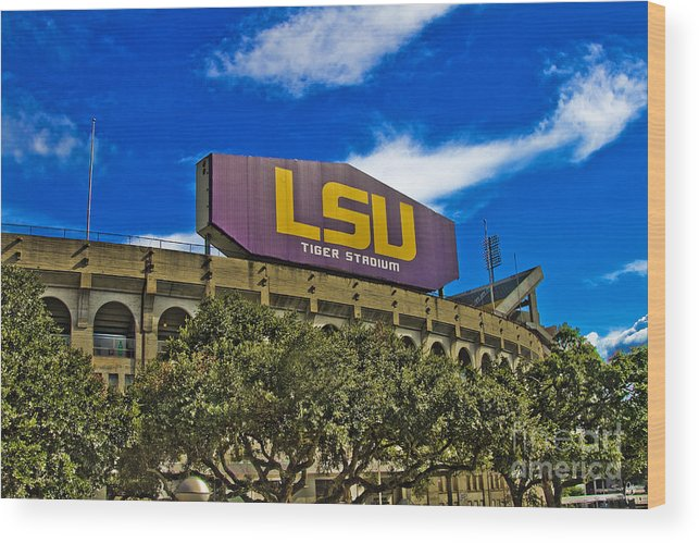 Lsu Wood Print featuring the photograph Lsu Tiger Stadium by Scott Pellegrin
