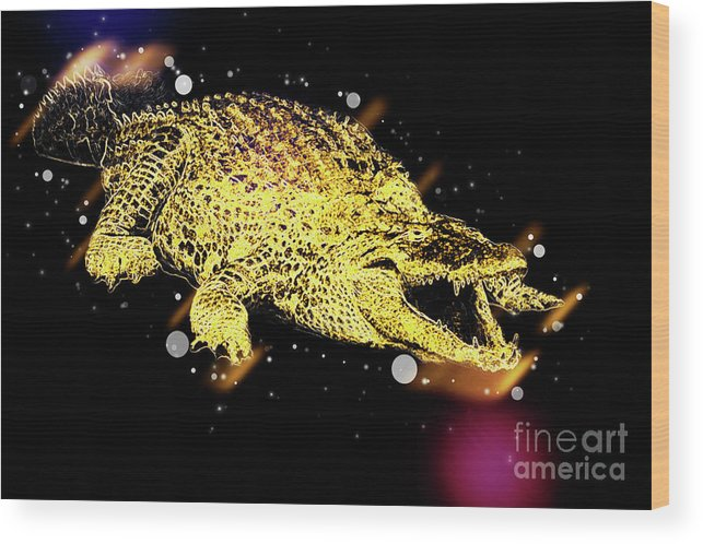 Nile River Wood Print featuring the photograph Nile River Crocodile by Humorous Quotes