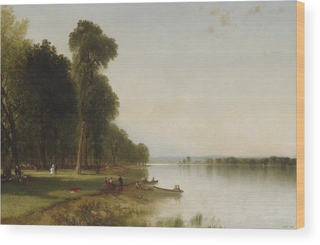 John Frederick Kensett (american Wood Print featuring the painting Summer Day On Conesus Lake by John Frederick