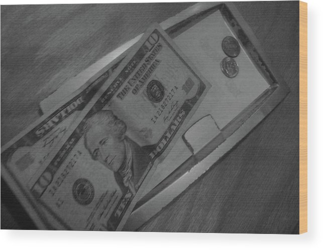 Black And White Print Wood Print featuring the photograph 2 Tens 1 Dime 1 Penny 2011 by WaLdEmAr BoRrErO