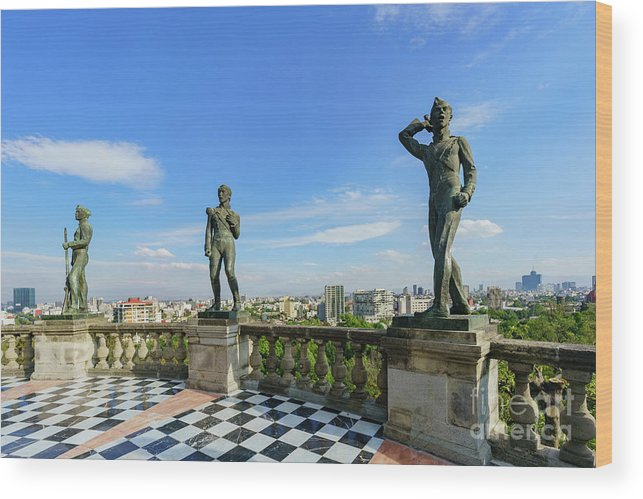 Chapultepec Castle Wood Print featuring the photograph The Historical Castle - Chapultepec Castle by Chon Kit Leong