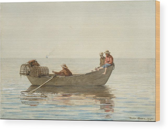 Angler Wood Print featuring the painting Three Boys In A Dory With Lobster Pots by Winslow Homer